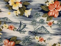 surf print shower curtain Lahaina Palms Gray