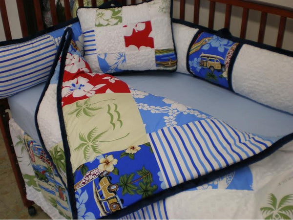 Coastal Crib set, Unique Handmade crib bedding with Beach theme
