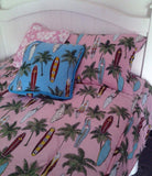 surfer girl pink bedding set