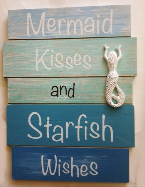 Mermaid Kissses Beach Sign with Bling