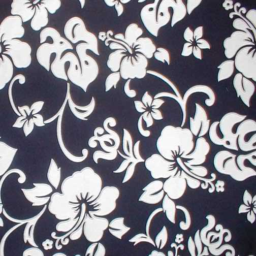Valance Hawaiian Hibiscus Navy and White