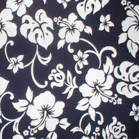Hawaiian Print pillow cases Navy and White Hibiscus