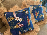 Pillow with Raffia Trim North shore Navy