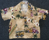 Hawaiian shirt North Shore Tan    baby size 6 m to men's 3 xl