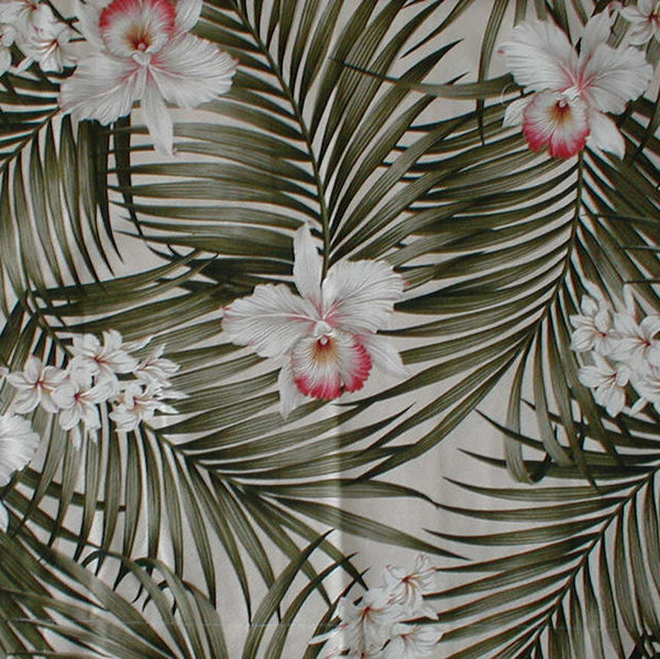 Ottoman Tropical Style Palm fronds and Leaves
