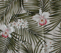 Breezy Tropical Valance Palm Fronds and Orchids