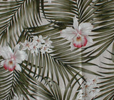 Table Runner with Tassels Tropical Palm Fronds & Orchids