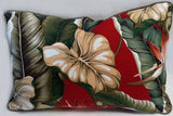 Rectangular pillow Tropical Leaves Cranberry