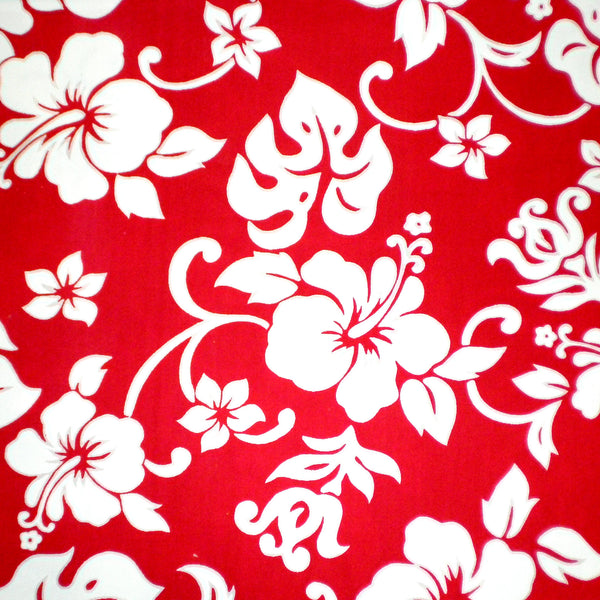 Crib skirt Ruffled    Hawaiian print Red & White Hibiscus