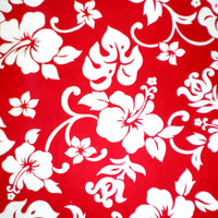 Red and White Hibiscus Valance