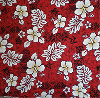 red hawaiian print window curtain