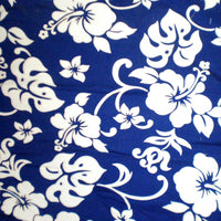 Hawaiian print  Curtain Royal Blue Hibiscus