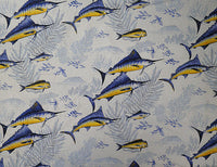 sailfish curtain, marlin curtain..  fish curtain, off white with blue marlin