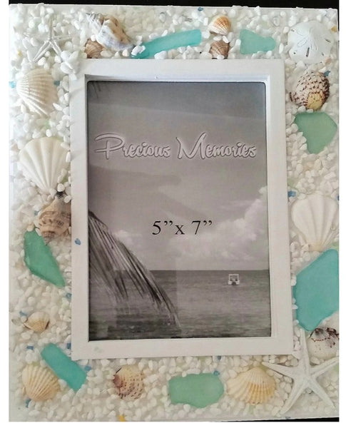 Seashell  and Sea Glass Coastal decor Picture Frame 3.5 x 5