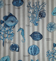 Sea life in Blues Seashell Pillow