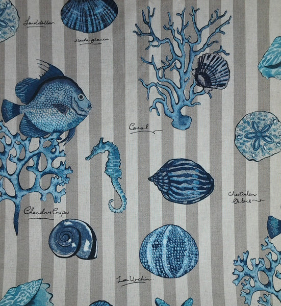 Seashell  shower curtain Sea life in Blues