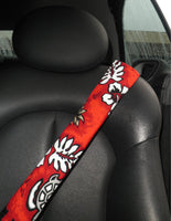 Seat Belt covers Padded Hawaiian Red Volcano