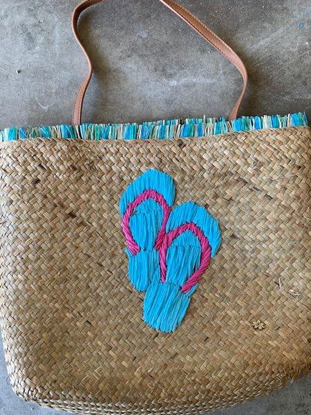 Seagrass tote with Embroidered flip flop