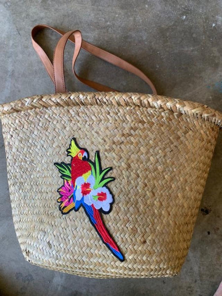 Tote Bag Woven Seagrass with  Parrot Applique