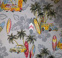 Gray Hawaiian print, with golden yellow, turquoise and red surfboards