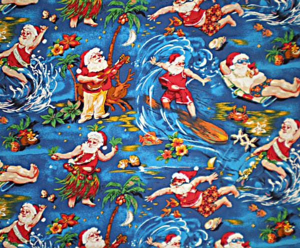Christmas Tree Skirt Surfing Santa Royal