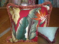 Tropical Throw Pillow Leaves Cranberry with Fringe