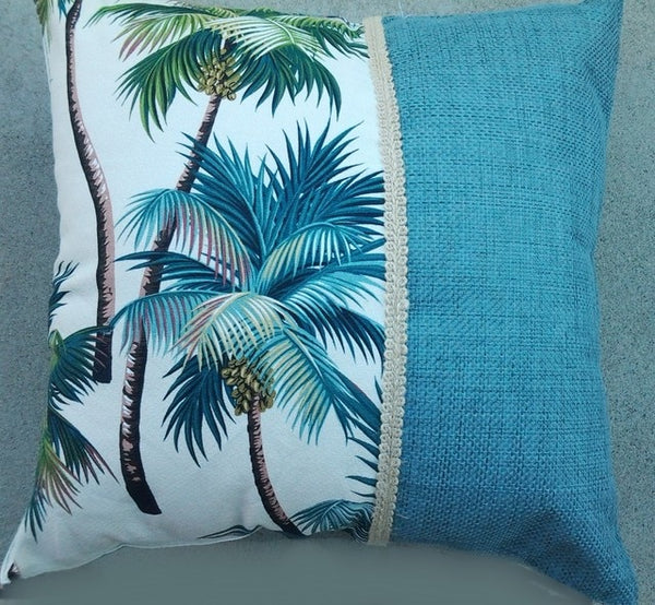 Tropical Pillow Waikiki Palm Natural with Teal Grasscloth
