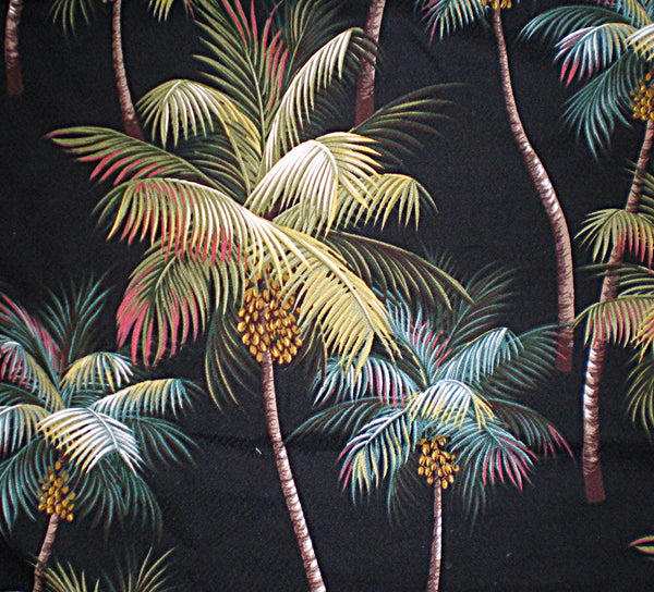 Tropical throw pillow Waikiki Palm Black