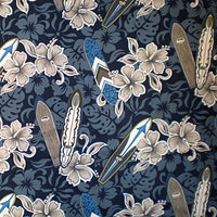 Hawaiian baby blanket navy blue with gray hibiscus flowers and surfboards