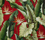 Tropical Leaves Cranberry Bark Cloth Pillow with Raffia