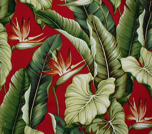 Table Runner Dramatic  Tropical Leaves Cranberry with Tassels