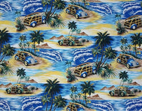 surf room window curtain, royal blue with woody cars, island scene
