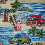 Hawaiian shirt cotton with woody cars, surfboards and Diamond head