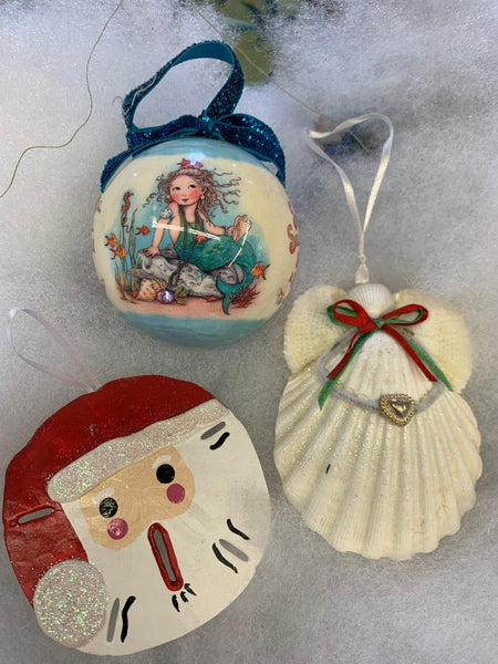 Beach Christmas Ornaments Set of 3 with Santa Sand Dollar