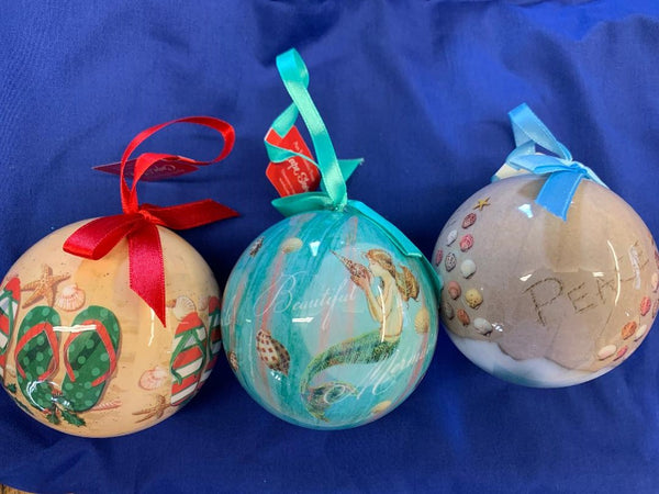 Beach Christmas Tree Decorations Set of 3