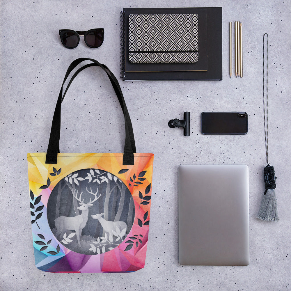 Kaleidoscopic Papercut | Antlers & Accents | Designer Tote bag