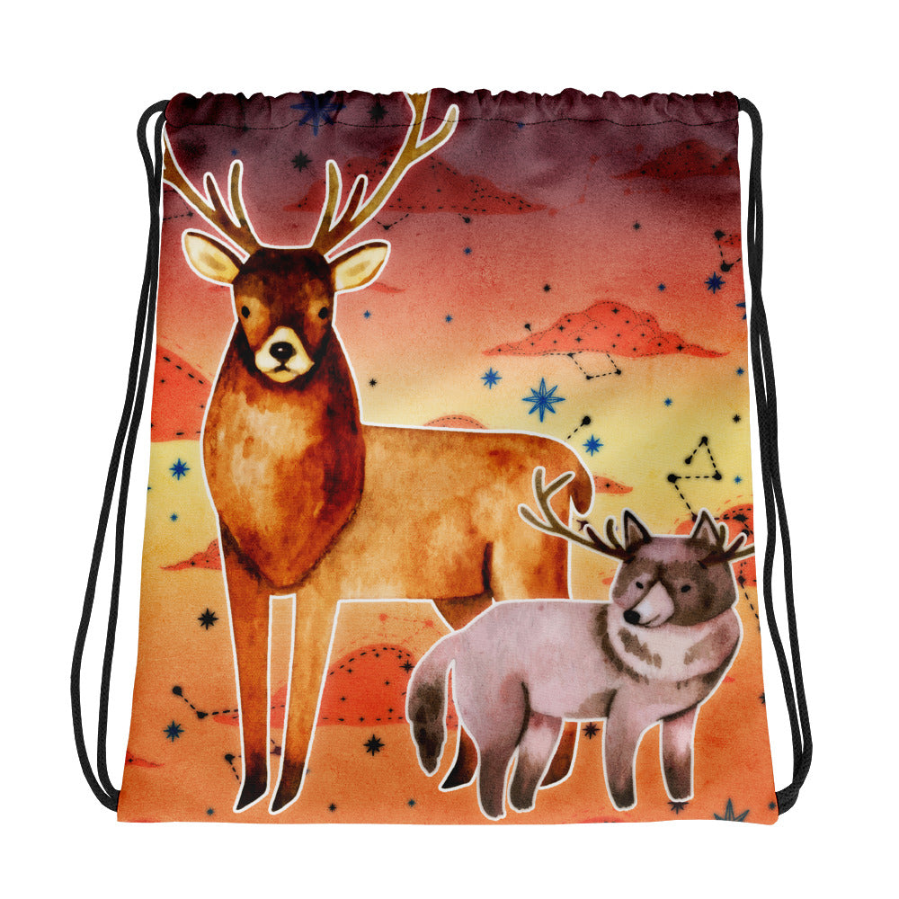 Deer & Friends Arkay the Wolf | Antlers & Accents | Designer Dice Drawstring bag