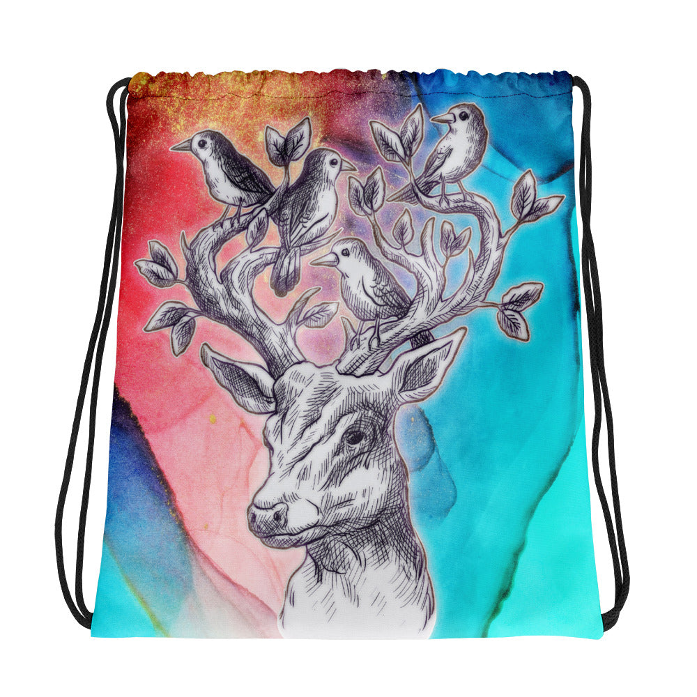 Birds of a Feather | Antlers & Accents | Designer Dice Drawstring bag