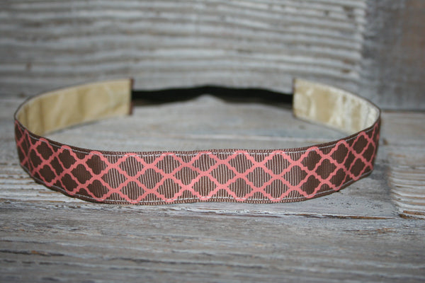 Beige and Pink Quatrefoil Headband