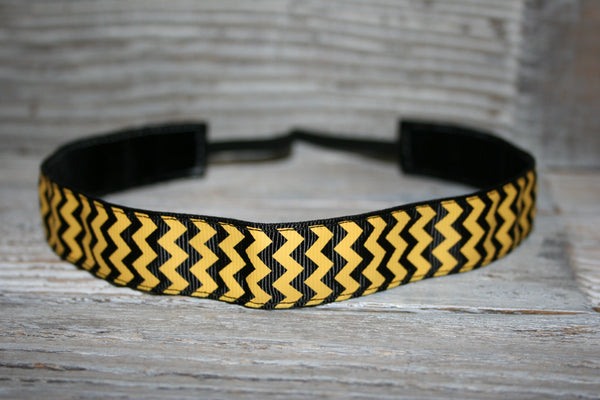 Black and Gold Chevron Headband