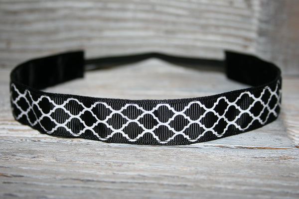 Black Quatrefoil Headband