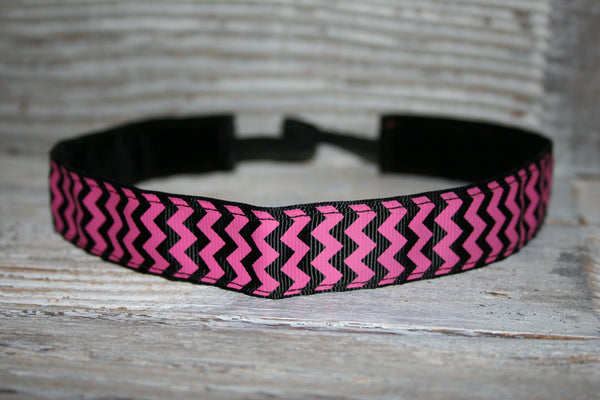 Hot Pink and Black Chevron Headband