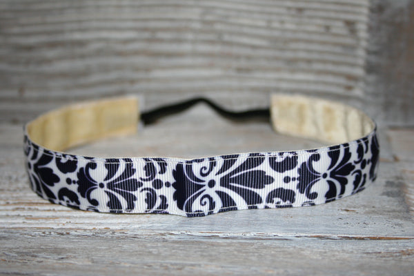 Navy Damask Headband