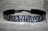 Navy and Silver Zebra Foil Headband