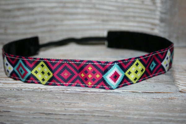 Pink and Navy Diamonds Headband