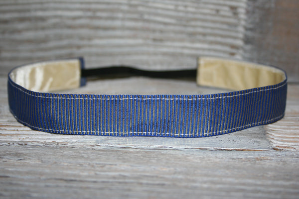 Royal and Gold Shiny Foil Stripes Headband