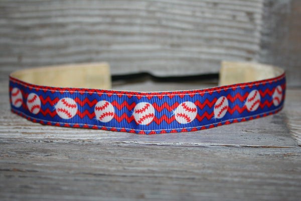 Royal and Red Baseball Chevron Headband