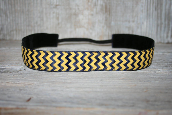 Navy and Gold Chevron Headband