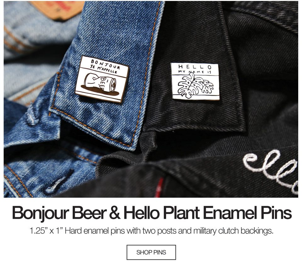 Bonjour Beer and Hello Plant Enamel Pins