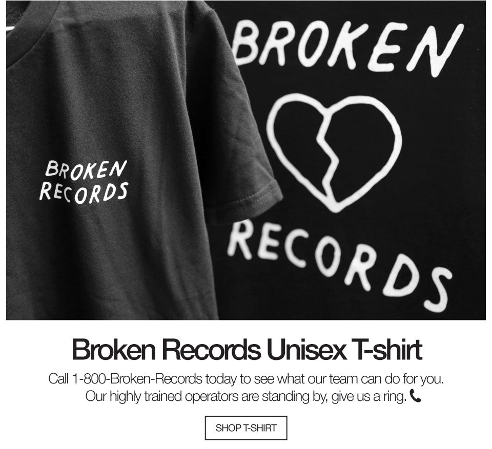 Broken Records Unisex T-shirt Black